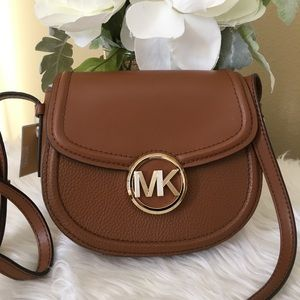 New Michael Kors Fulton small saddle Xbody bag